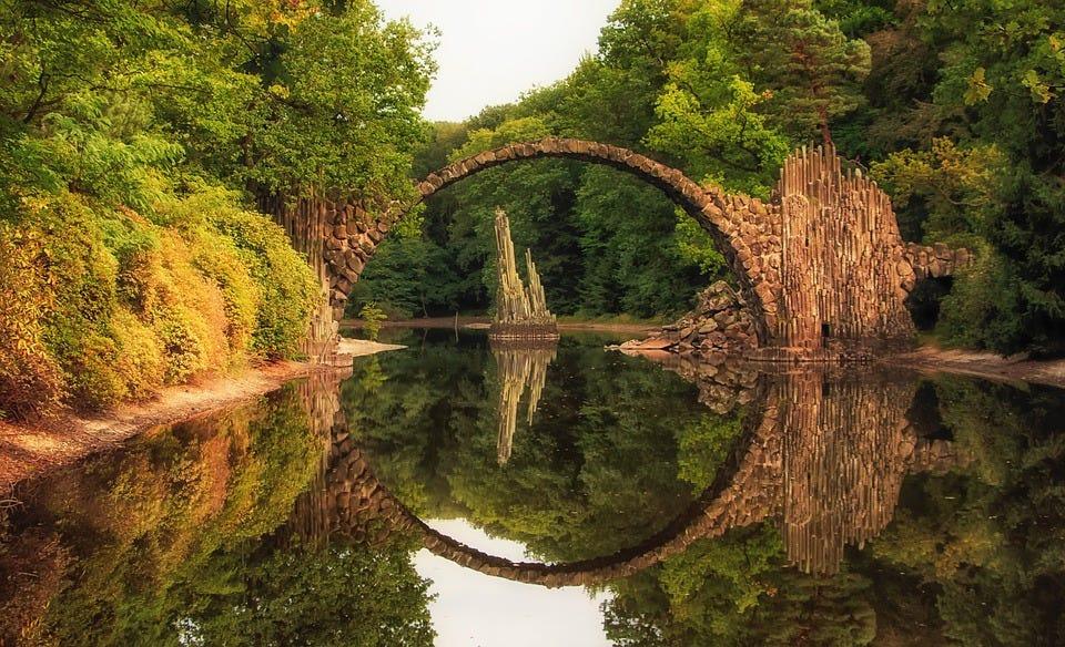 Rakotzbrücke, Kromlauer Park, Park, Lake, Nature, Water
