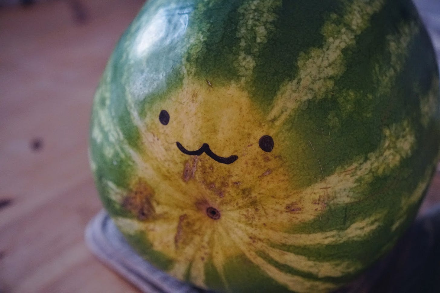 A watermelon with a face