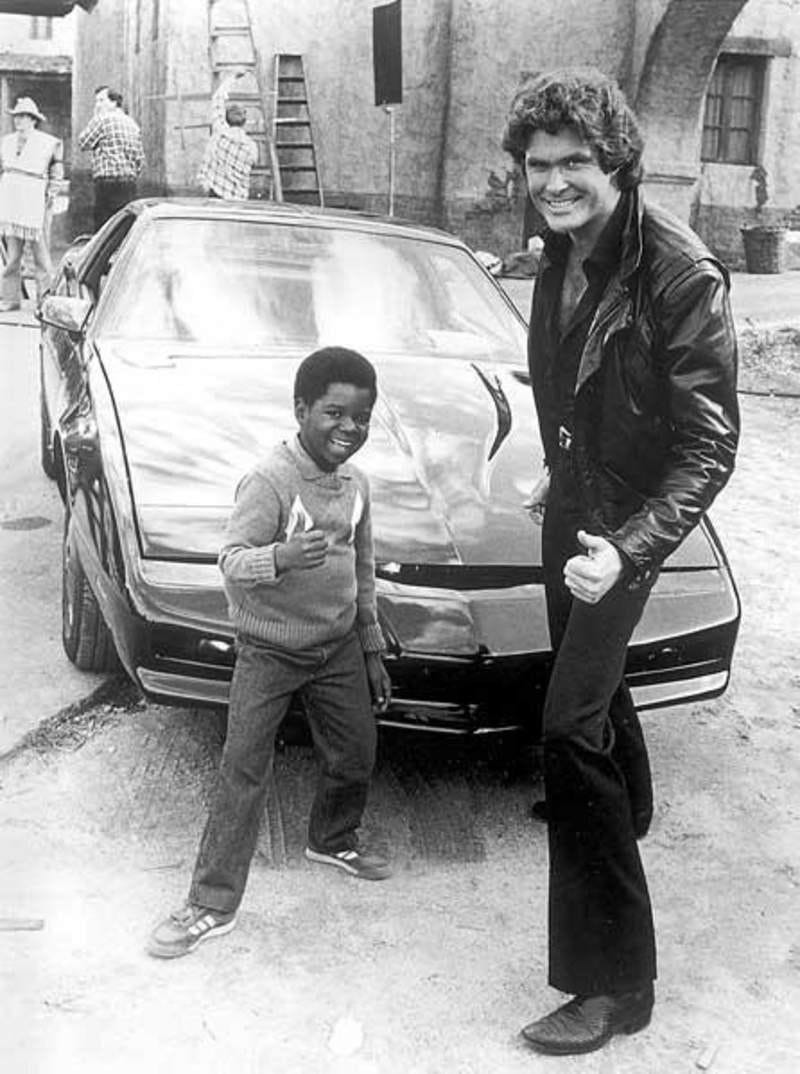 Gary Coleman and David Hasselhoff on the set of Knight Rider : dragonutopia