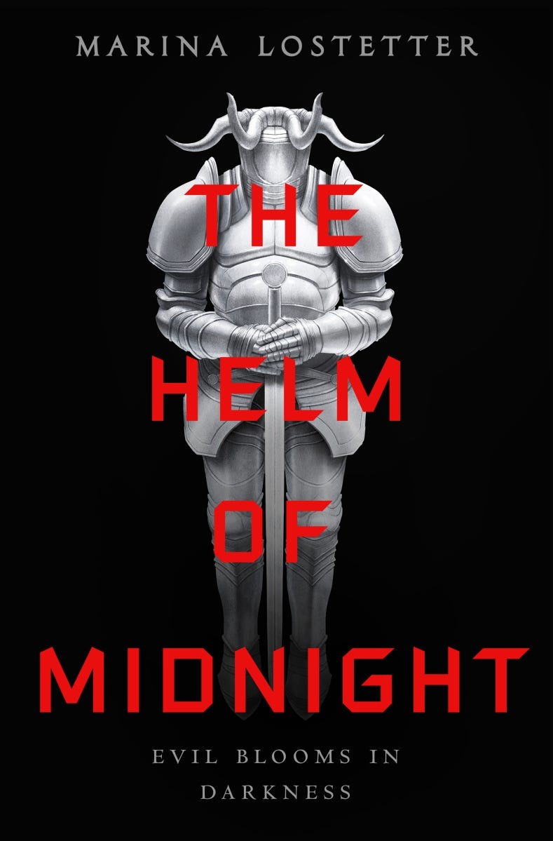 The cover of The Helm of Midnight features an unsettling suit of armor on a black background. The top of the armor (the helm) looks like an upturned, grasping, four-fingered hand.