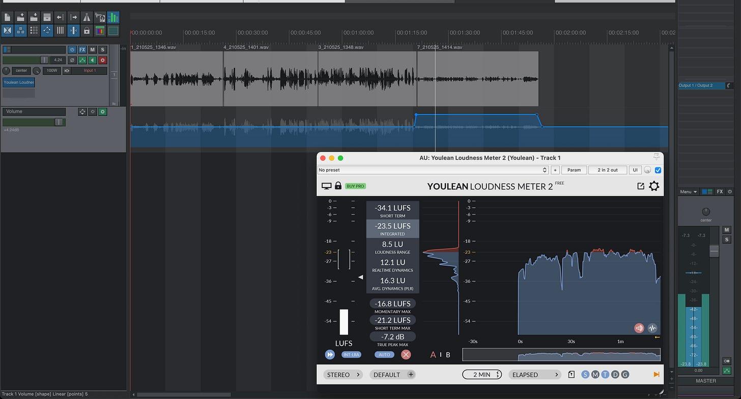 screenshot van Reaper met daarin een spoor met vier aan elkaar geplakte fragmenten, en onderin een grafiek van de YouLean Loudness meter. Het gemiddelde zit op -23.5 LUFS