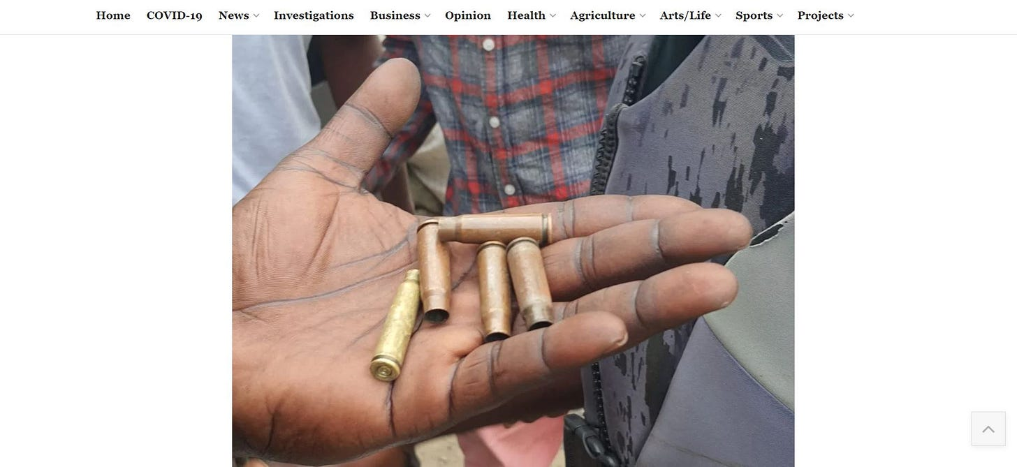 A screenshot of the bullets presented on the Premium Times website