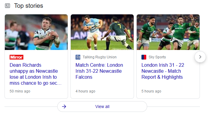 Images in the Top Stories carousel on Google