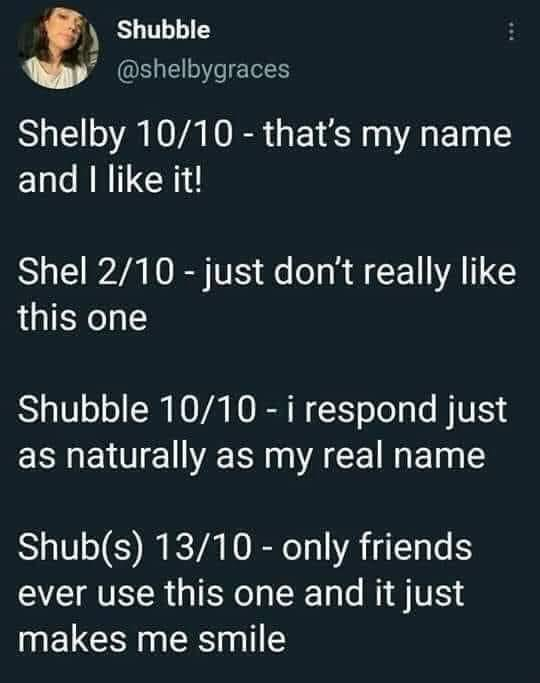 Screenshot of a tweet by @shelbygraces. It reads: Shelby 10/10 - that's my name and I like it!  Shel 2/10 - just don't really like this one  Shubble 10/10 - i respond just as naturally as my real name  Shub(s) 13/10 - only friends ever use this one and it just makes me smile