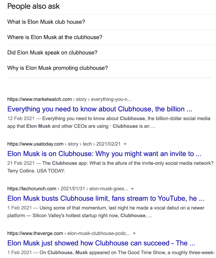Screenshot of web search on Clubhouse and Elon Musk's Clubhouse chatroom which hyped the interest in the social media app.