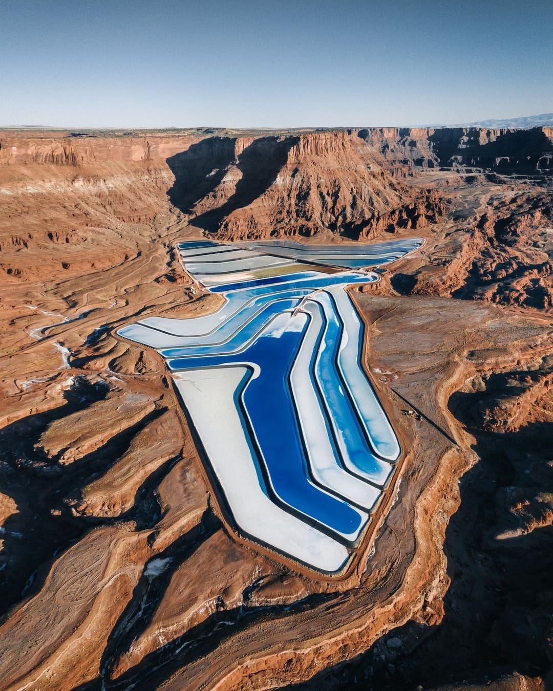 Moab Utah frozen blue lake