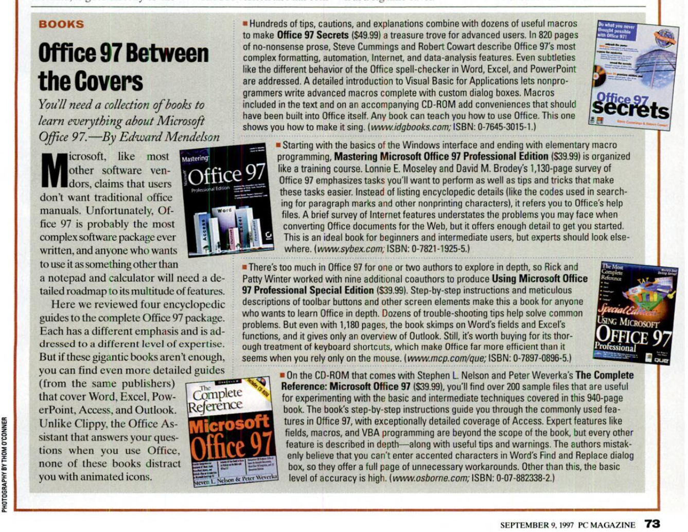 Screen shot of PC Magazine article showing four different books on how to learn Office 97.