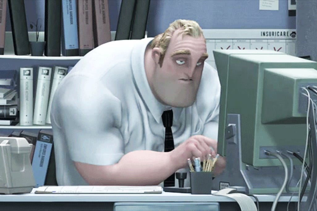 In The Incredibles, we see that Mr. Incredible is hunched over when at his  office desk in order to see his computer's screen better. This is due to the  fact that Mr.