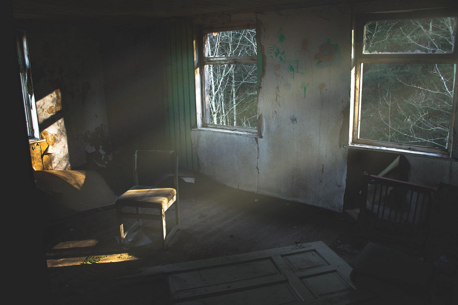"""image inside a derelict building for article titled """"the illusion of tomorrow"""""""