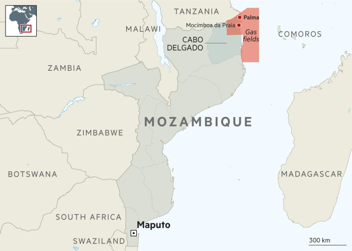 Locator map of the town of Palma in Mozambique