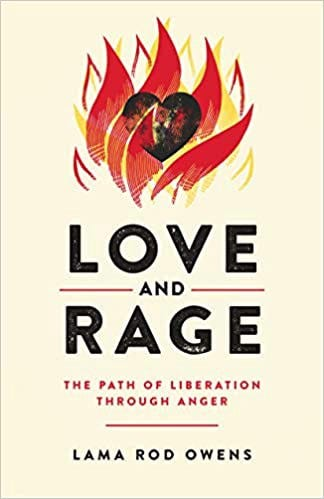 Cover of Love and Rage—cream coloured w/ an illustrated flame wrapped around a heart