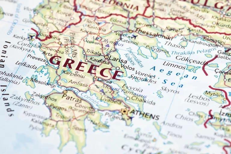 Close up map of Greece.