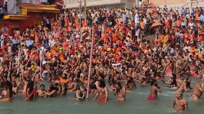 Crowds gather for the shahi snaan during the Kumbh Mela at Haridwar Wednesday | Simrin Sirur | ThePrint