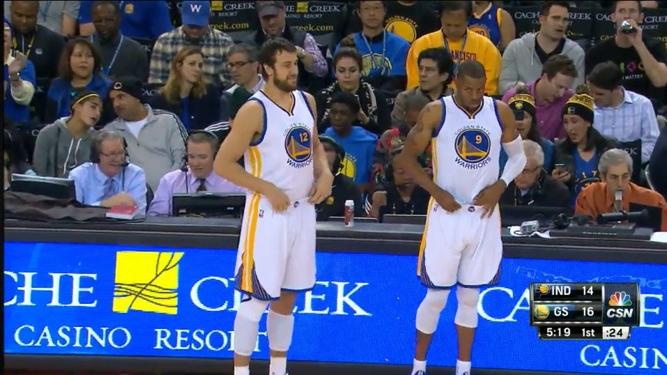 Andrew Bogut and Andre Iguodala checks into the game against Indiana
