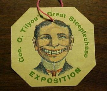 Grotesquely grinning man's face with too many teeth.