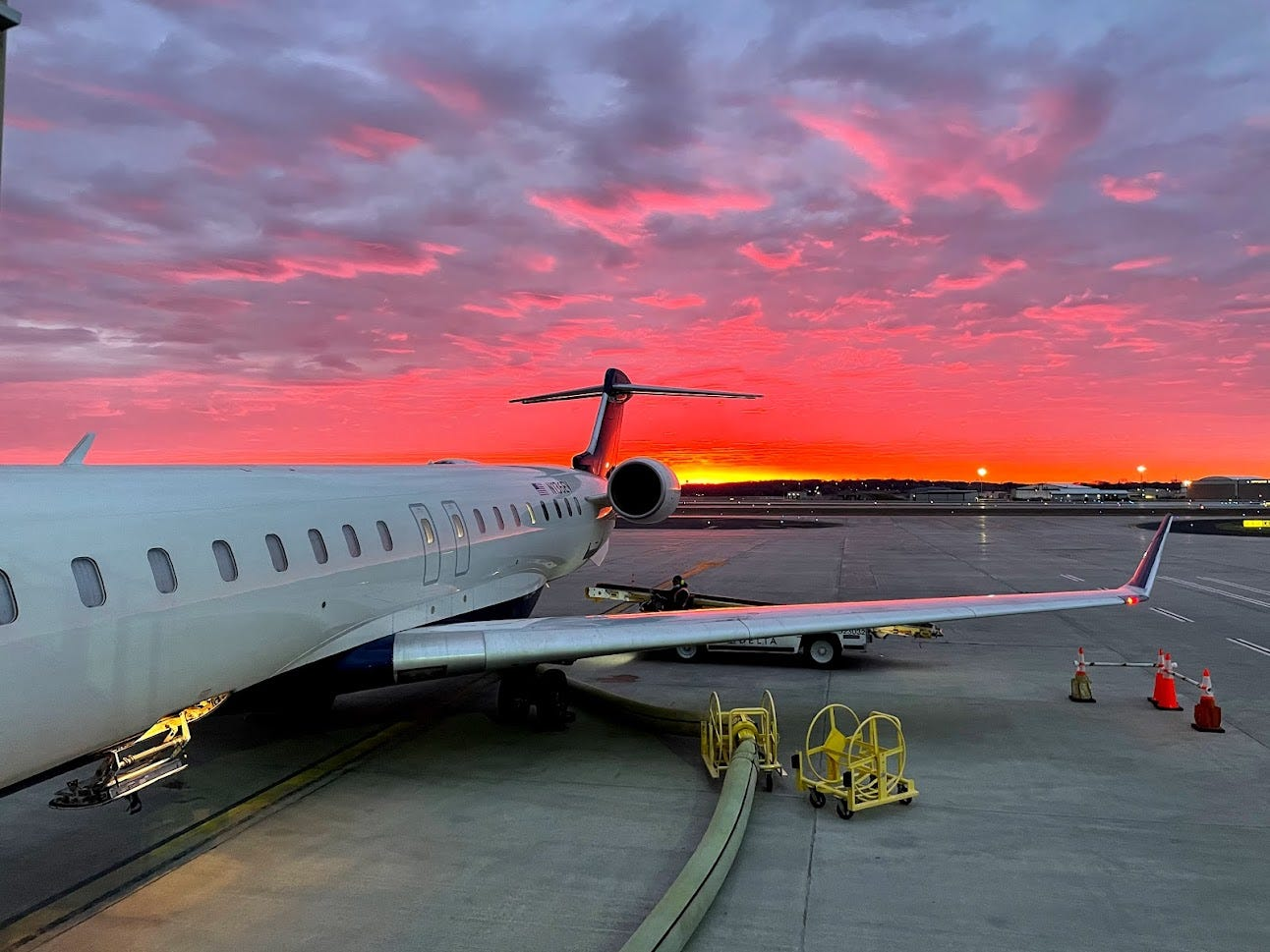 Sunrise at the Madison WI. airport.