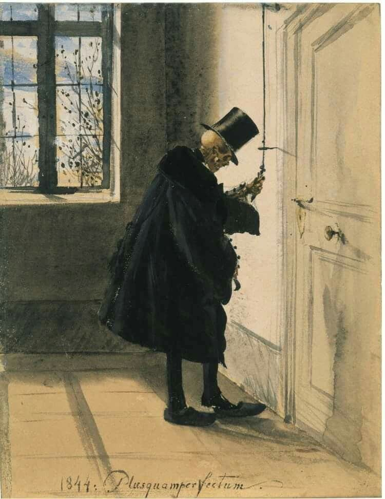 Uma caveira vestindo roupas masculinas e cartola, se prepara para entrar por uma porta. No fundo, uma janela, a claridade invadindo o corredor de um prédio.