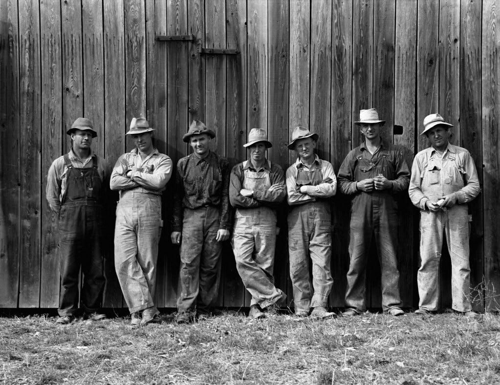 Dorothea Lange: Farmers who have bought machinery cooperatively, West Carlton, Yamhill County, Oregon, 1939