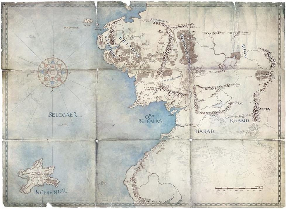 Map of Middle-Earth and Numenor in the Second Age of Arda