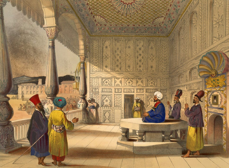 This scene shows Shah Shuja in 1839 after his enthronement as Emir of Afghanistan in the Bala Hissar (fort) of Kabul