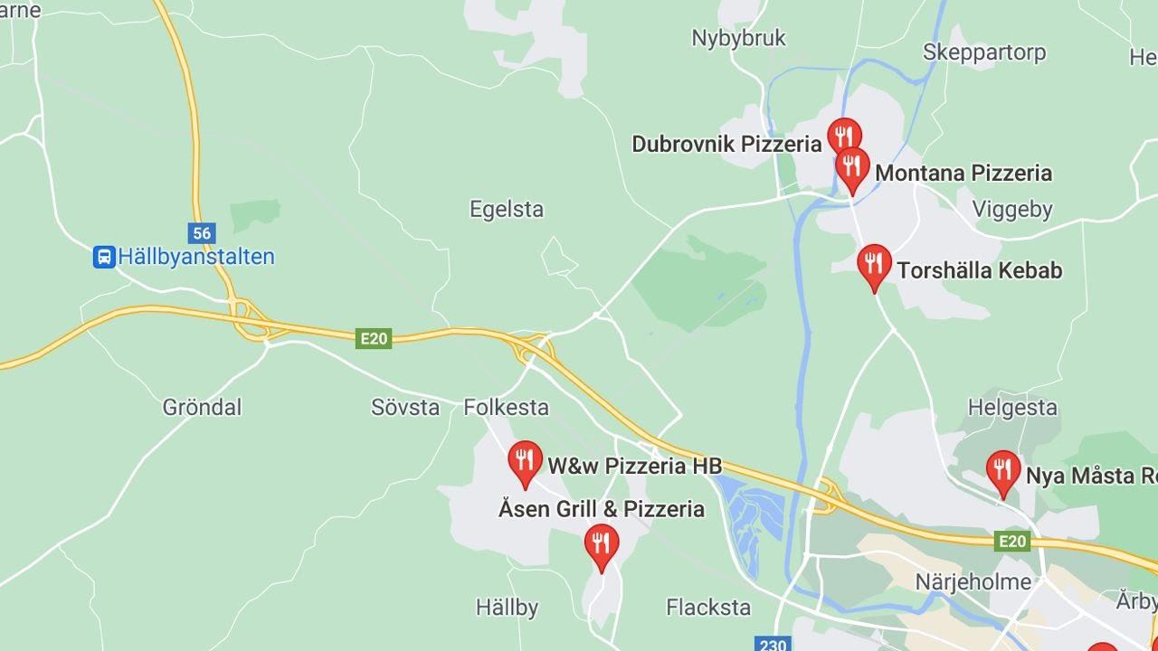 Screenshot of google maps showing the closest pizzerias near Hällbyanstalten.