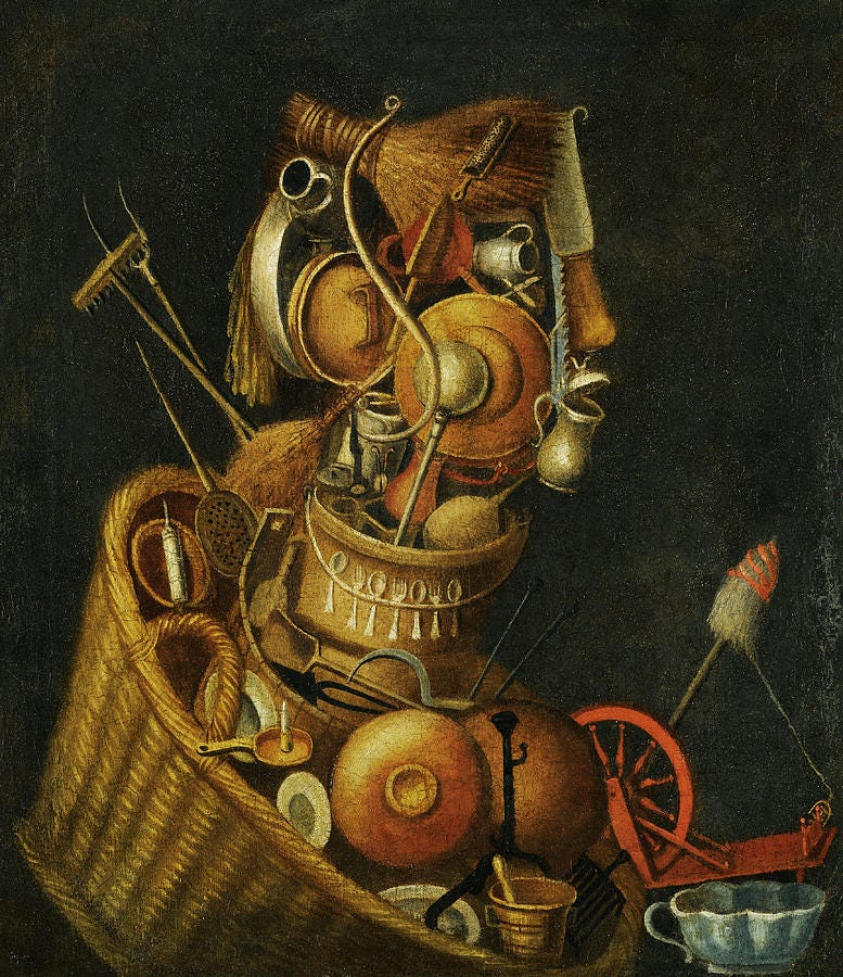 Basket Painting - An Anthropomorphic Still Life with Pots Pans Cutlery a Loom and Tools by Circle of Giuseppe Arcimboldo