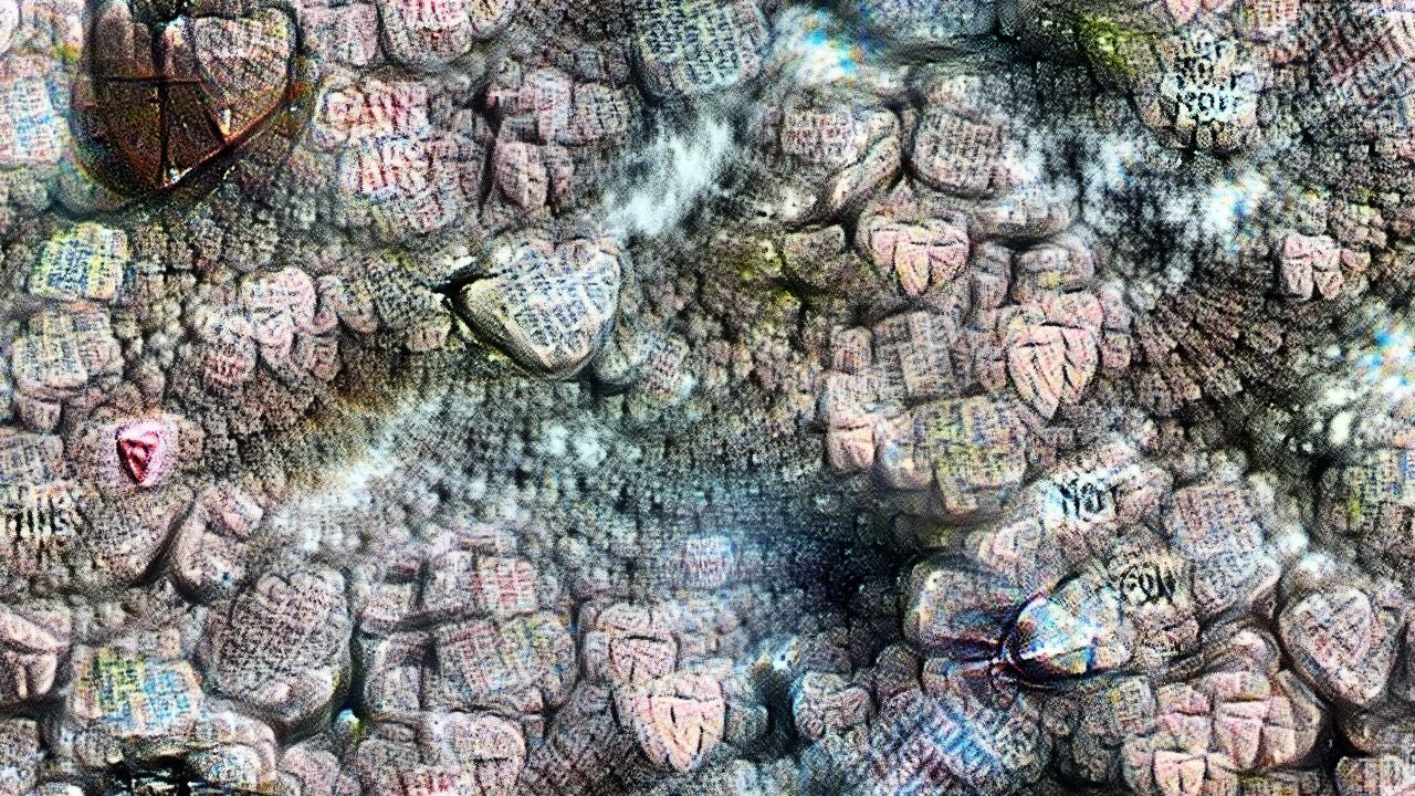 There are thousands of pastel-colored hearts, each illegible, pressed up against each other into a solid cavern that recedes into misty distance.