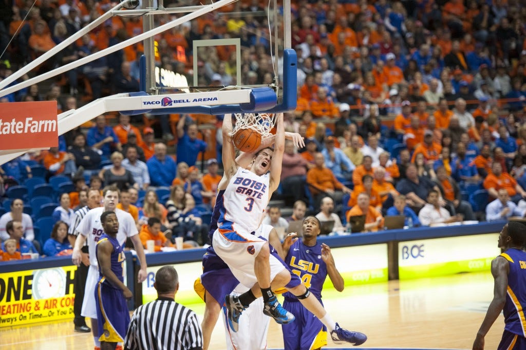 Drmic dunking in traffic against LSU - Courtesy Boise State Athletics