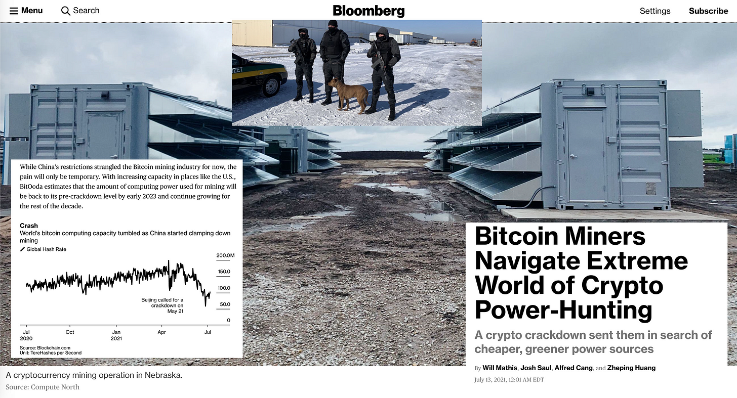 """Collage from Will Mathis,Josh Saul,Alfred Cang, andZheping Huang's Bloomberg feature """"Bitcoin Miners Navigate Extreme World of Crypto Power-Hunting"""" including an image of the grey power equipment of a Nebraska crypto mining operation under grey clouds, a graph showing the decline in global bitcoin hashrate since China banned miners, and armed guards standing outside a different mining facility in Kazakhstan."""