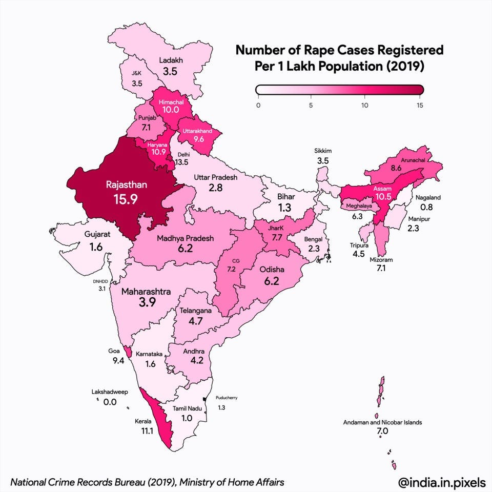 r/IndiaSpeaks - Rape cases registered per capita in Indian states and UTs