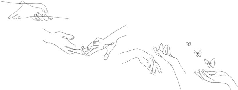 line drawings: 1) two hands clasping each other tightly around the wrist 2) the same hands now barely touching 3) the same hands now separated 4) a single hand with an open palm and butterflies rising