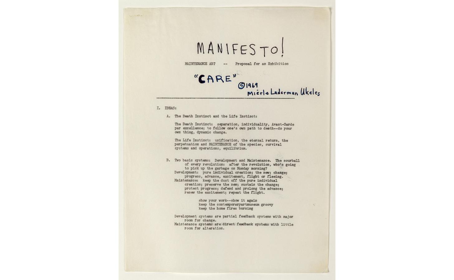 MANIFESTO FOR MAINTENANCE ART, 1969!