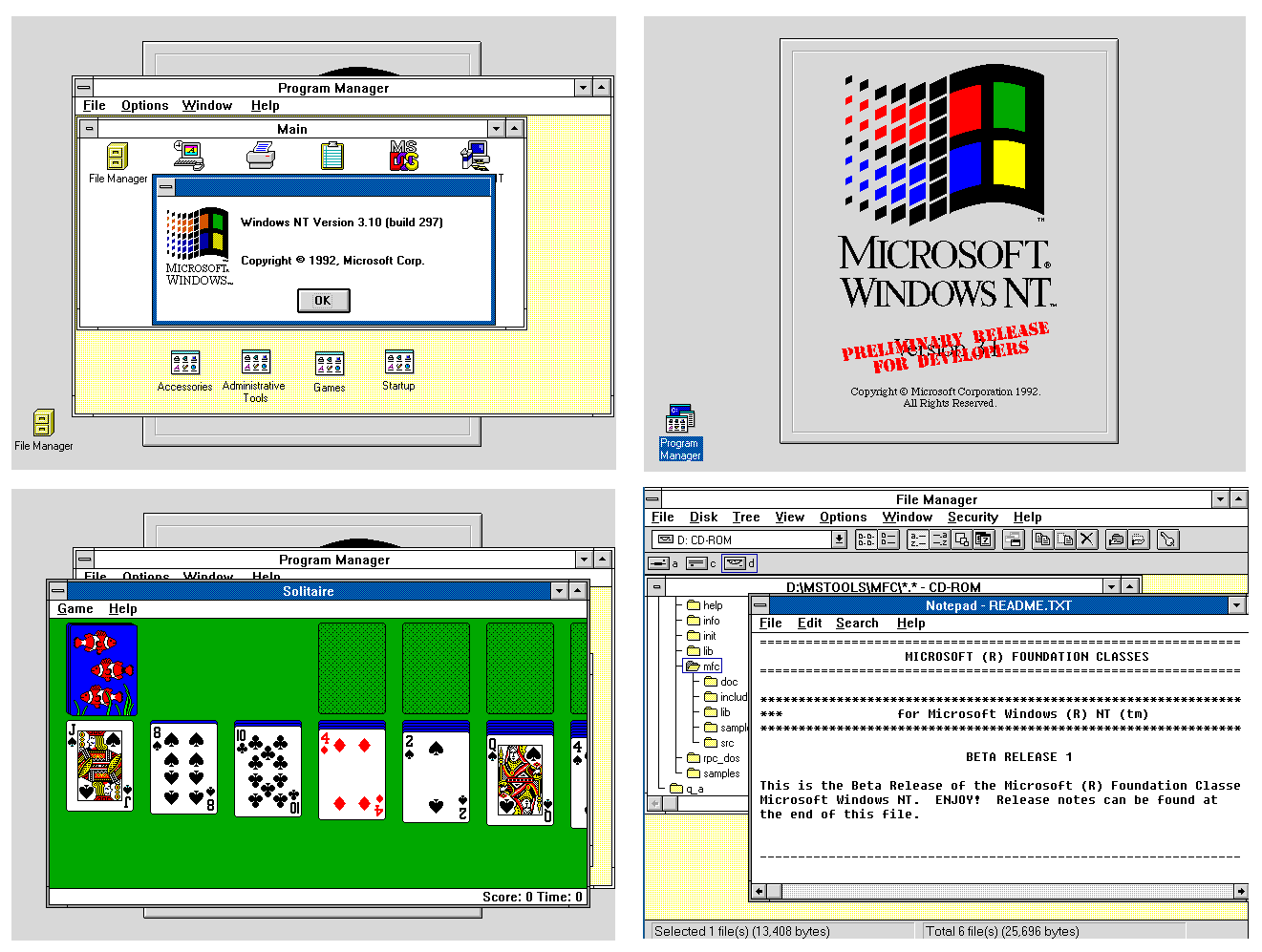 Several screen shots of Windows NT 3.1 297 including some of my own code.