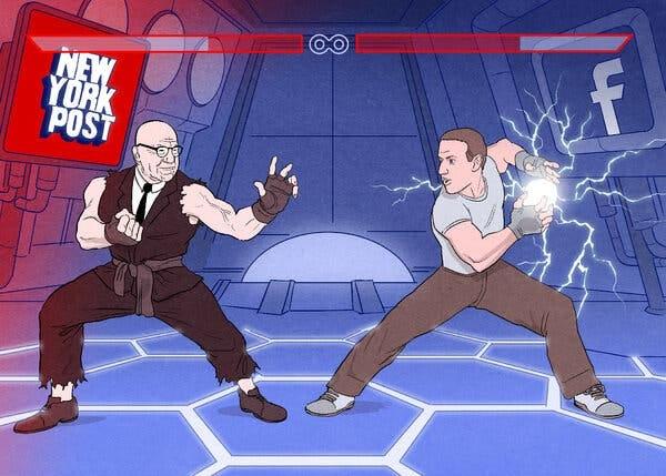 Cartoon of a video game fight scene between video game cartoon avatars of Mark Zuckerberg and Rupert Murdoch