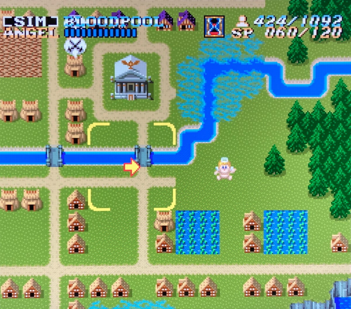A view of Bloodpool during the god-sim portion of the SNES original.