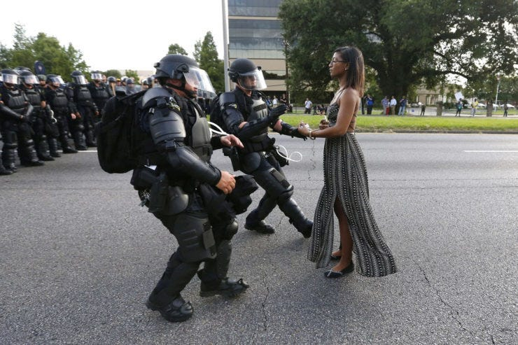 Bachman's photo of anti-police brutality protester Ieshia Evans being arrested by Baton Rouge police in 2016 was a finalist for the 2017 Pulitzer in Breaking News Photography