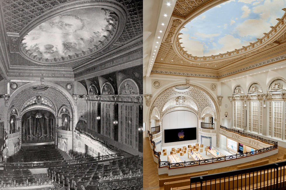 An archival photograph of Tower Theatre next to one of a fully updated Apple Tower Theatre shows how Apple effectively preserved and restored the theater's beauty and grandeur.