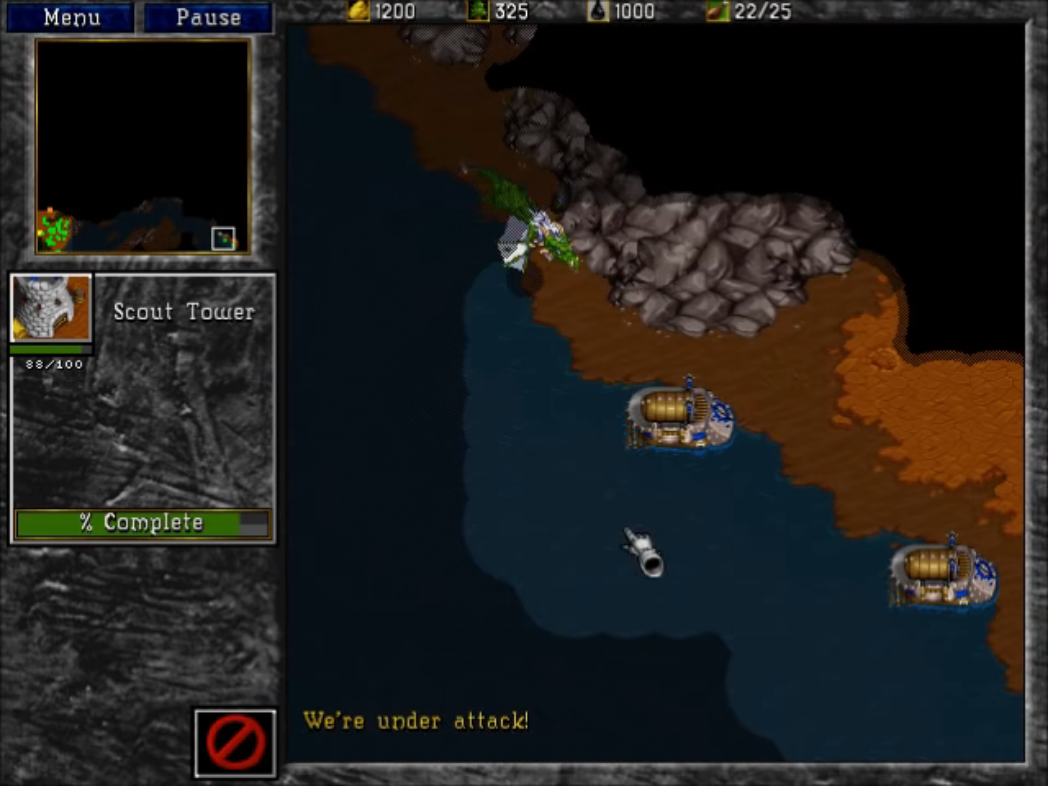 In a screenshot from Warcraft II, a dragon approaches towards a part of human transports. The dragon is half in Fog of War