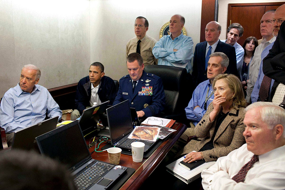 Leaders gather inside White House situation room to monitor raid that killed Osama Bin Laden