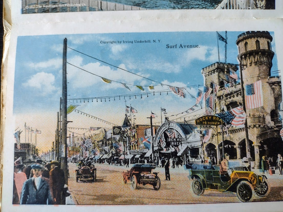 1919 Coney Island Street scene with electric wires
