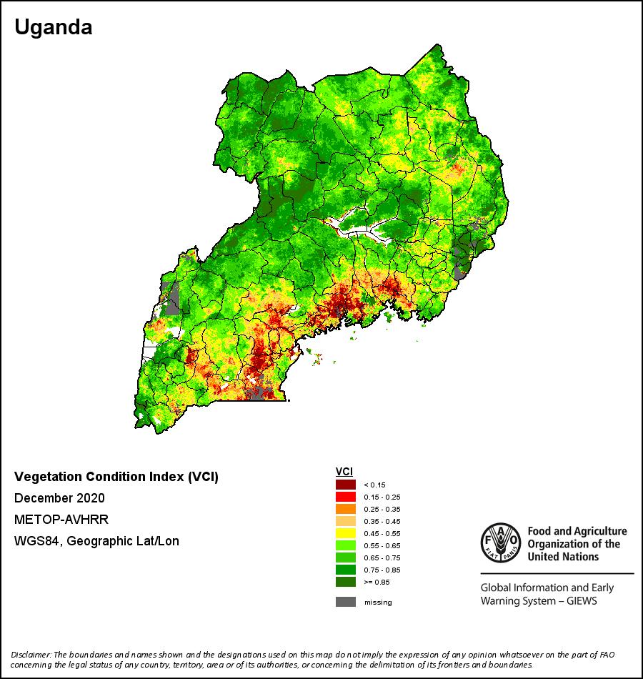 GIEWS map of vegetation condition in Uganda