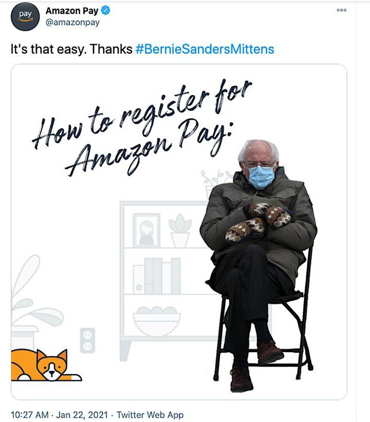 Bernie Sanders meme hijacked for Amazon Pay ad.