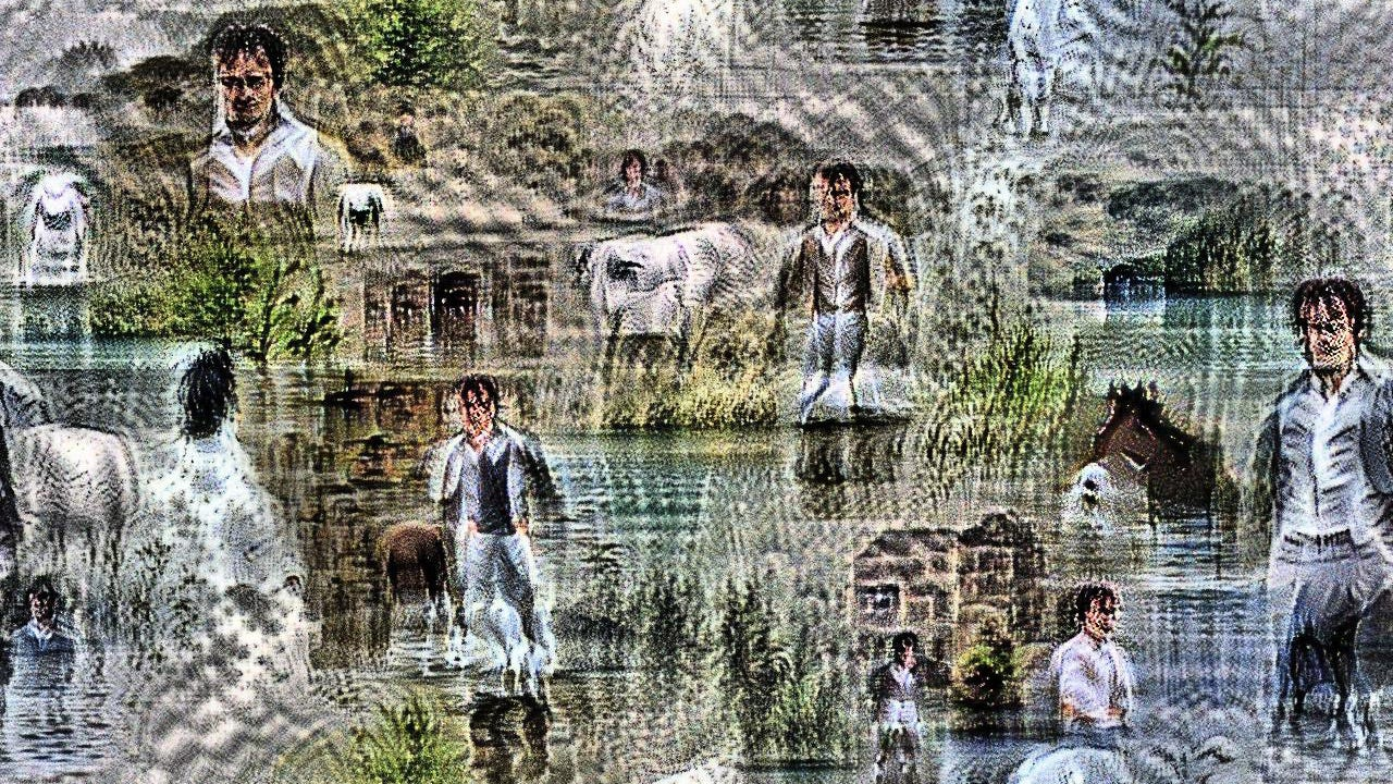 It could plausibly be Colin Firth from 1995 Pride and Prejudice. The lake and the countryside are there, repeated and tiled upon one another several times. The horse requires much more imagination.