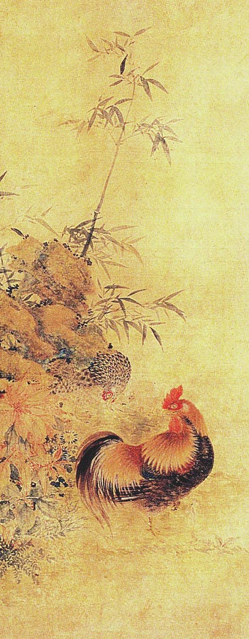 Bamboo and a Chicken Painting by Jang Seung eop