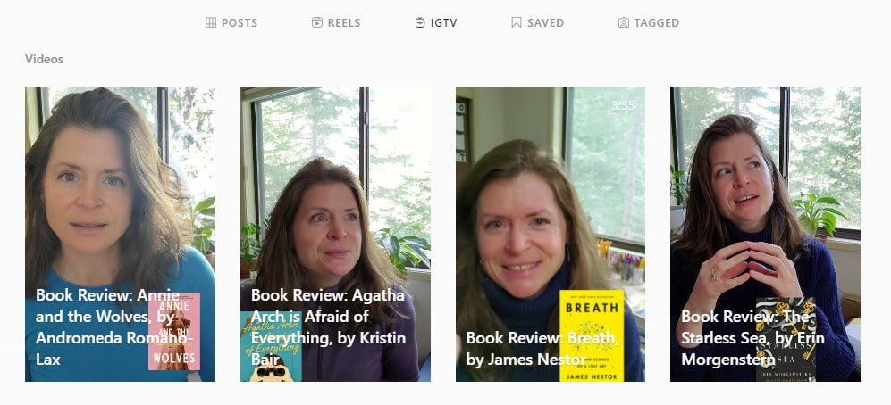 Image: screen capture from my IGTV page showing the last four video book reviews I did.