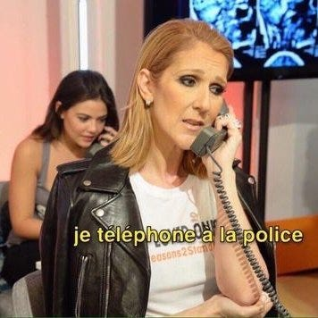 """Meme in which Céline Dion looks worried on the phone, captioned """"je telephone a la police."""""""