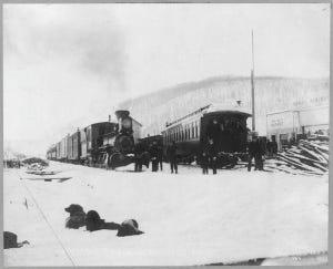 TVRR_trains_at_Fox,_Alaska,_1916