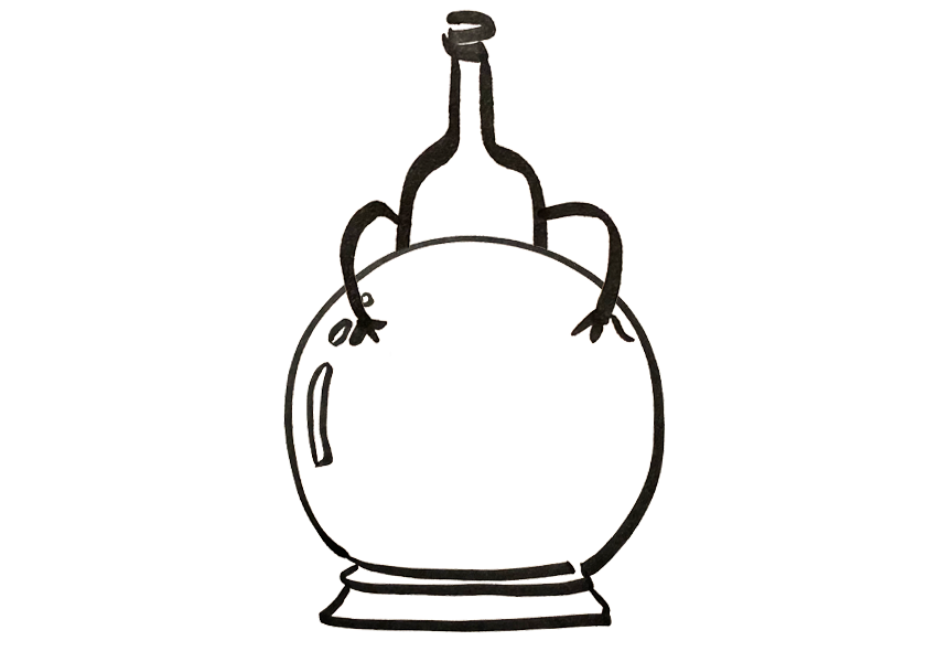 An anthropomorphic wine bottle is looking at a crystal ball