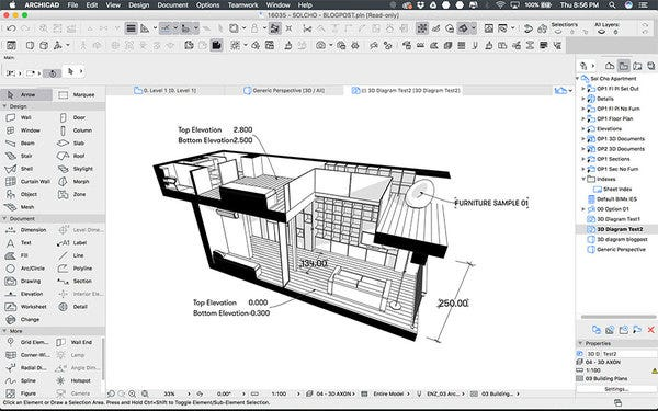 3D documents allows adding labels and dimensions to make it more informative
