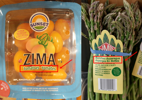 tomatoes and asparagus, also labeled in both English and French